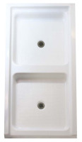 "Aquarius 72 x 36 Acrylic Shower Double Base With 6"" Easy-Step Threshold Center Drain - AB-3672SPF"