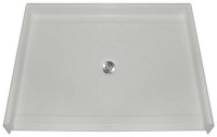 "Aquarius 48 x 36 Gelcoat Shower Base With 7/8"" Barrier Free Threshold - Center Drain - MPB 4836 BF .875"