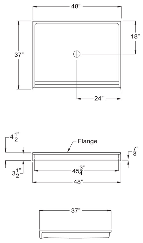 """Aquarius 48 x 36 Gelcoat Shower Base With 7/8"""" Barrier Free Threshold - Center Drain - MPB 4836 BF .875"""