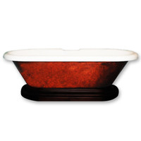 "Cambridge Plumbing - Acrylic Double Ended Pedestal Bathtub 70? x 30? Faux Copper Bronze Finish on Exterior with 7"" Deck Mount Faucet Drillings and Oil Rubbed Bronze Pedestal - ADEP-CPRBRNZ-ORB-7DH"