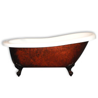 "Cambridge Plumbing - Acrylic Slipper Clawfoot Bathtub 61?x30"" Faux Copper Bronze Finish on Exterior with 7"" Deck Mount Faucet Drillings and Oil Rubbed Bronze Feet - AST61-CPRBRNZ-ORB-7DH"
