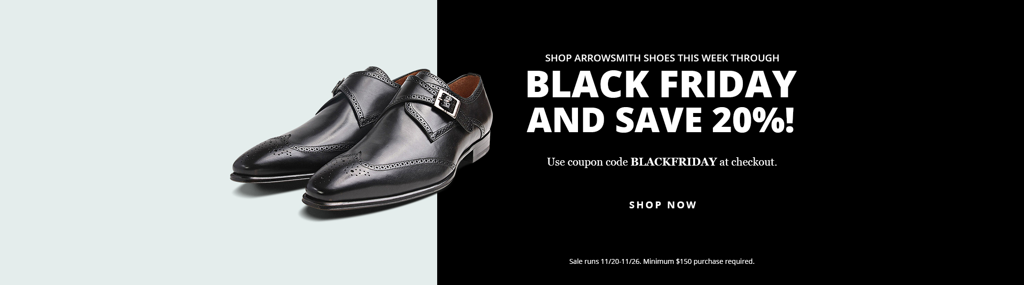 Black leather shoes on Black Friday sale graphic