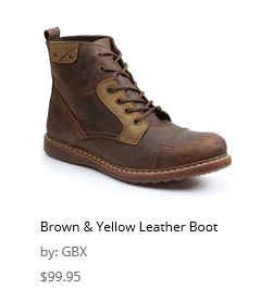 brown and yellow leather boot