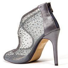 Lady Couture Bonita Gray Embellished Fabric Heels