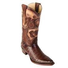 Los Altos Brown Genuine Caiman Snip Toe Boots