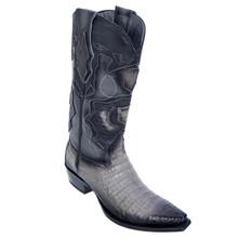 Los Altos Gray Genuine Caiman Snip Toe Boots