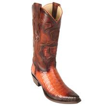 Los Altos Cognac Genuine Caiman Snip Toe Boots