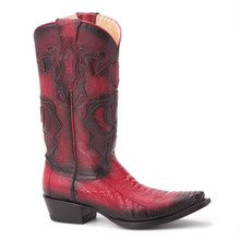 King Exotic Red Genuine Ostrich & Leather Boots