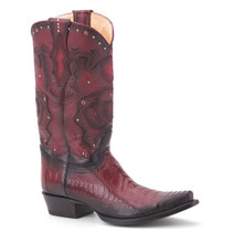 King Exotic Burgundy Genuine Ostrich & Leather Boots