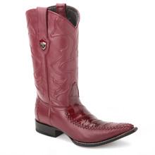 Wild West Burgundy Genuine Eelskin Boots