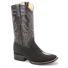 These genuine stingray saddle boots in black from the new line of King Exotic will certainly make you stand out from the crowd. They have a classic square toe.