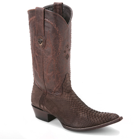Impart a stylish and classic cowboy appeal to your outfits with this pair of brown boots from Wild West. It is made of python skin and has a 3x-toe design.