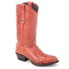 Elevate the style appeal of your wardrobe with these genuine caiman hornback boots in cognac from the house of Wild West. It has a stylish J-toe profile.