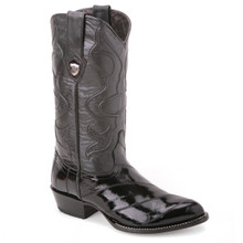 Handcrafted and made from the best of materials, these cowboy boots in black from Wild West can't be missed. Made of genuine eel skin, they have a J-toe profile