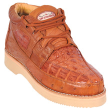 Cognac Genuine Caiman & Ostrich Skin Casual Sneakers by Los Altos