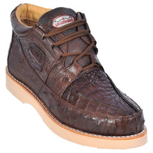 Brown Genuine Caiman & Ostrich Skin Casual Sneakers by Los Altos