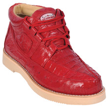 Red Genuine Caiman & Ostrich Skin Casual Sneakers by Los Altos