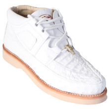 White Genuine Caiman & Ostrich Skin Casual Sneakers by Los Altos
