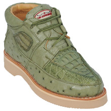 Green Genuine Caiman & Ostrich Skin Casual Sneakers by Los Altos