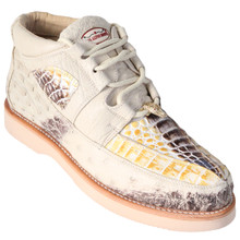 Natural Genuine Caiman & Ostrich Skin Casual Sneakers by Los Altos