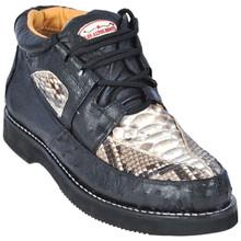 Los Altos Natural & Black Python & Ostrich Skin Sneakers