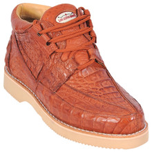 Cognac Full Caiman Skin Casual Sneakers by Los Altos