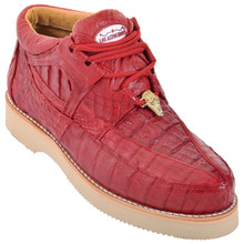 Red Full Caiman Skin Casual Sneakers by Los Altos