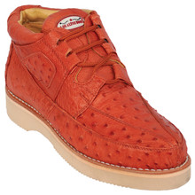 Cognac Full Ostrich Skin Casual Sneakers by Los Altos