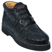 Black Full Ostrich Skin Casual Sneakers by Los Altos