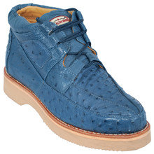 Blue Jean Full Ostrich Skin Casual Sneakers by Los Altos