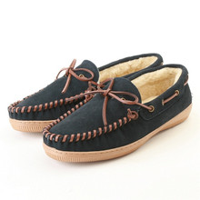 Navy Suede Leather House Slipper Moccasins