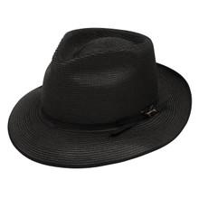 Stetson Stratoliner Black Florentine Milan Firm Finish Straw Hat
