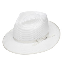 Stetson Stratoliner White Florentine Milan Firm Finish Straw Hat