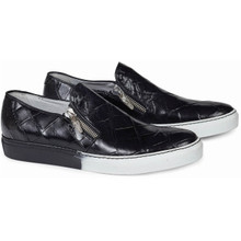 Mauri Bernini Black Alligator Side-zip Slip-ons
