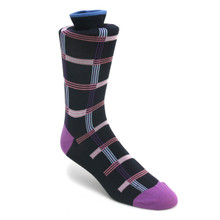 Tallia Navy & Plum Patterned Multi-toned Socks