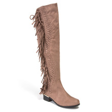 Lady Couture Fringe Taupe Knee-length Boots