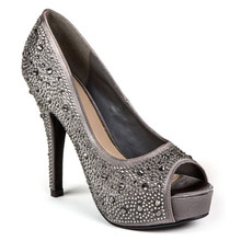 Lady Couture Lauren Pewter Embellished Peep-toe Heels