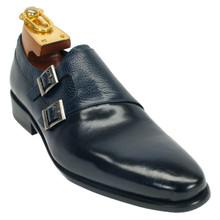 Carrucci Navy Calfskin Leather Double Monkstraps