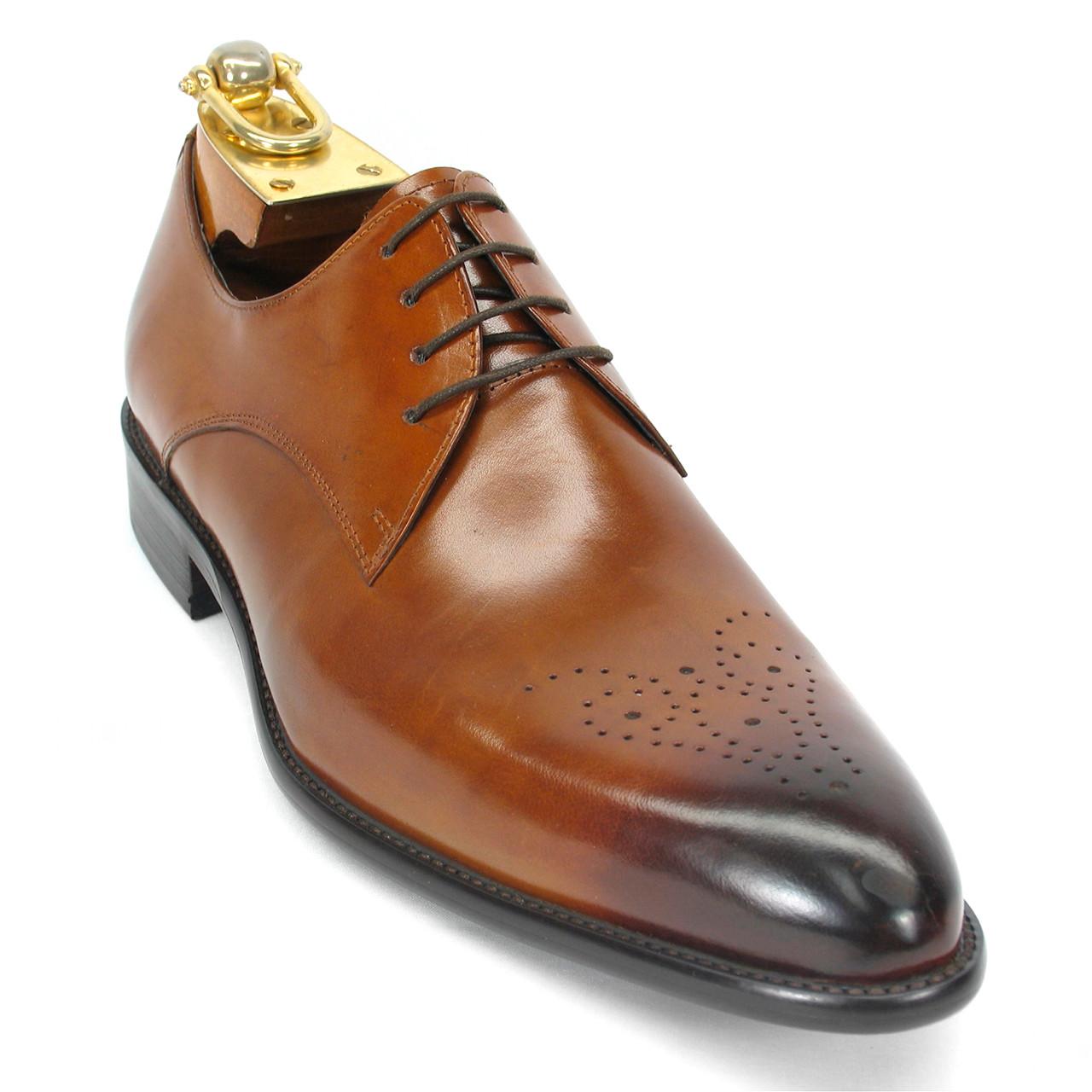 Carrucci Cognac Genuine Calfskin Leather Slip-ons