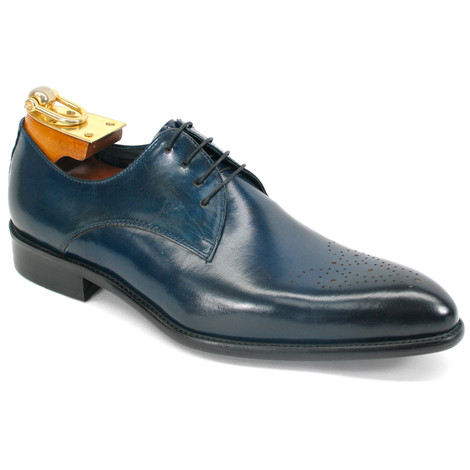 Carrucci Navy Genuine Calfskin Leather Oxfords