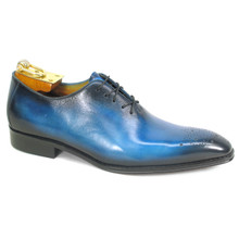 Carrucci Ocean Blue Calfskin Leather Toned Oxfords
