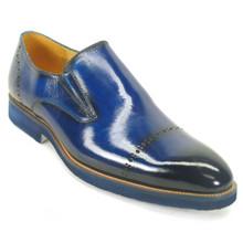 Carrucci Cobalt Calfskin Leather Brushed Slip-ons