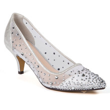 Lady Couture Silk Silver Embellished Kitten Heels