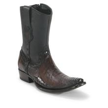 King Exotic Brown Ostrich Leg Dubai Toe Boots