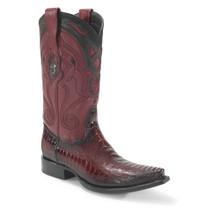 Wild West Burgundy Ostrich Leg Snip Toe Boots