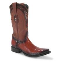 Wild West Cognac Teju Lizard Snip Toe Boots