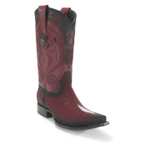 Wild West Burgundy Single Stone Stingray Snip Toe Boots