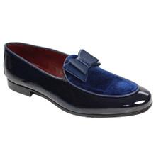 Duca Amalfi Blue Velvet & Leather Bow Dress Shoes