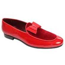 Duca Red Velvet & Leather Bow Dress Shoes