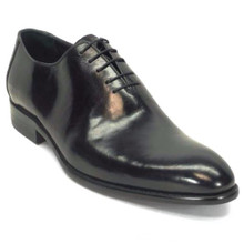 Carrucci Black Calfskin Leather Plain Toe Oxfords